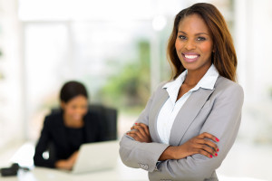 smart african business woman in office